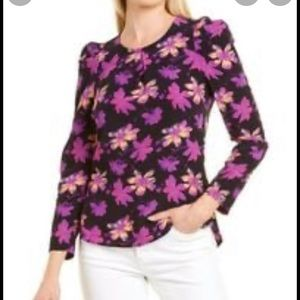 Maje floral puffy sleeve blouse
